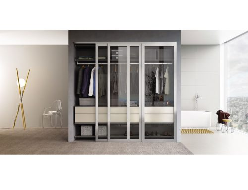 Large closet sliding doors for reach in closet with clear glass for full visibility.