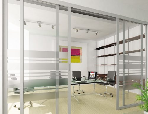 Sliding office doors and panels features aluminum frame AF009 and clear glass with custom etched pattern