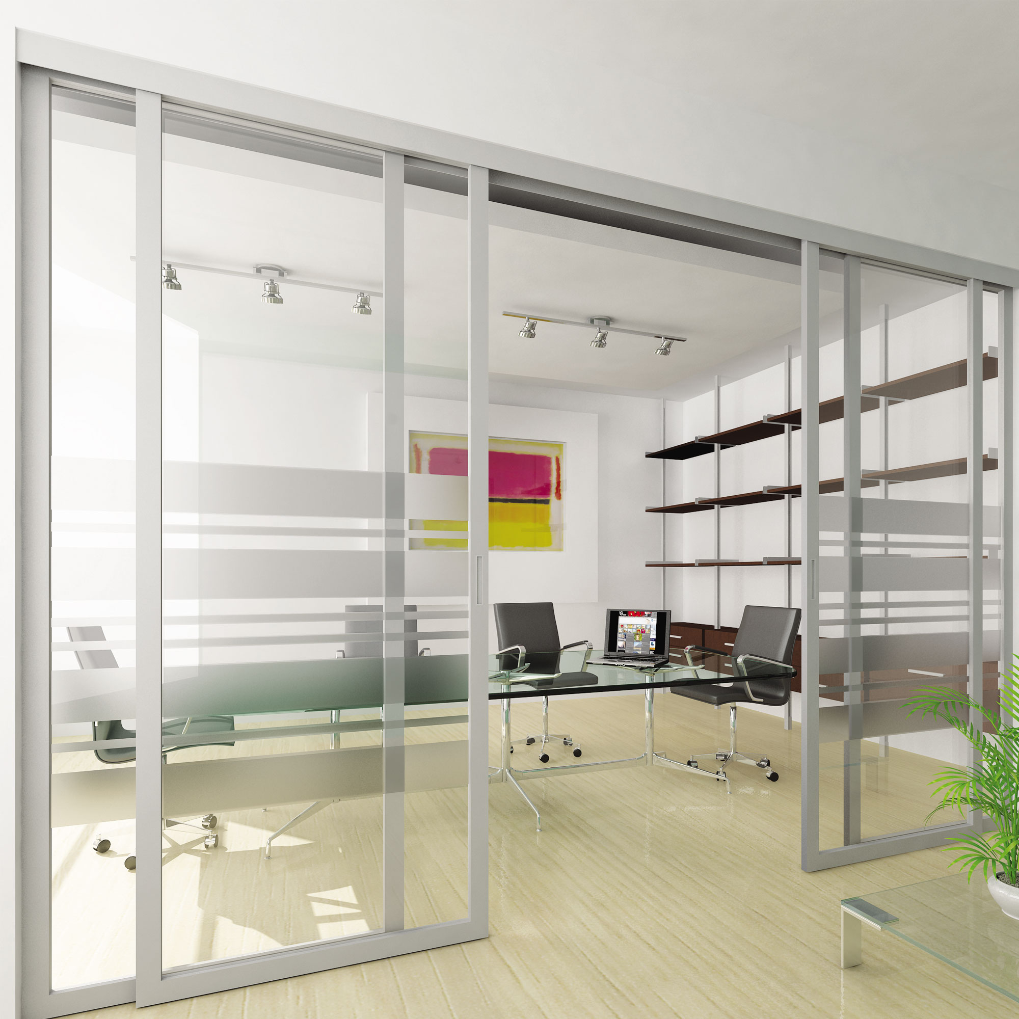Sliding Doors Of Glass: Sliding Office Doors And Panels Features Aluminum Frame