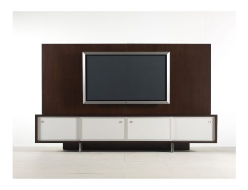 TV credenza with sliding cabinetry doors featuring our narrow aluminum frame and white backpainted glass.