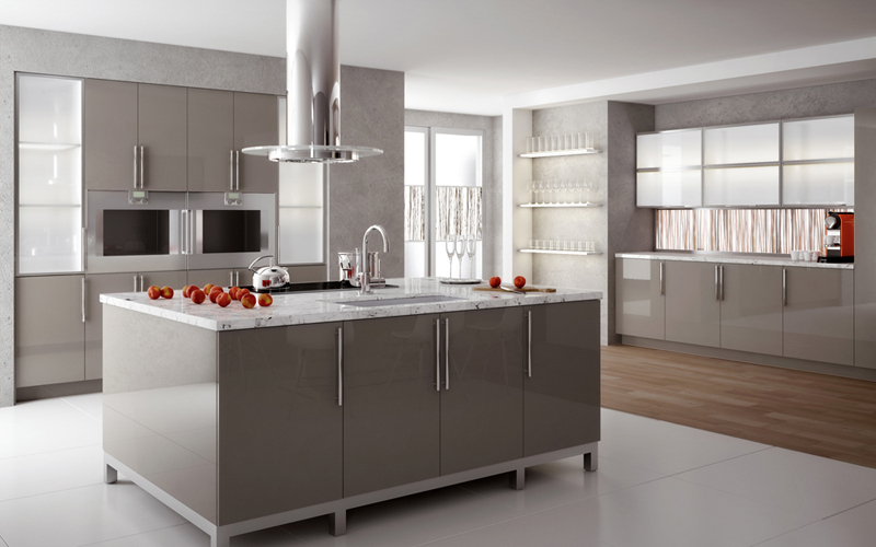 Aluminum Glass And Acrylic Cabinet Doors And Components For Kitchen - Stone grey kitchen cabinets